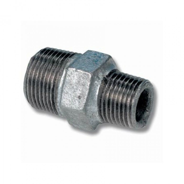 Galvanised Malleable Nipple Hex Reducing 32MM x 25MM (1 1/4 x 1 Inch BSP)